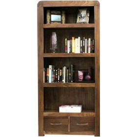 Hampshire Solid Walnut Large 2 Drawer Bookcase £487 - Home Office Furniture