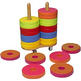 24 Donut Floor Cushions & Trolley £0 - Education Furniture