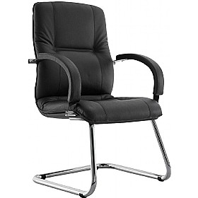 Star Leather Faced Cantilever Visitor Chair £235 - Office Chairs