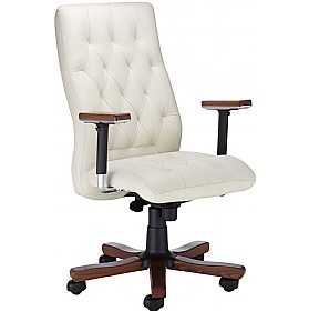 Chester Executive Leather Wood Chair £376 - Office Chairs