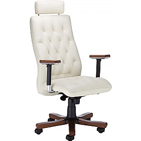 Chester Executive Leather Wood Chair With Headrest £397 - Office Chairs