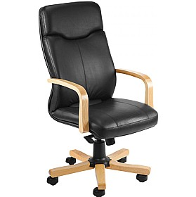 Rapsody Wood Executive Leather Faced Chair £284 - Office Chairs