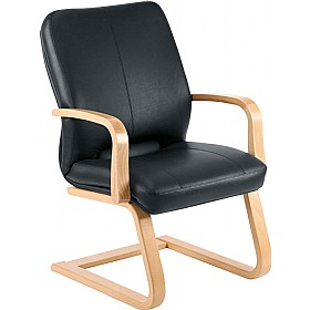 Rapsody Wood Executive Leather Faced Visitor Chair £228 - Office Chairs