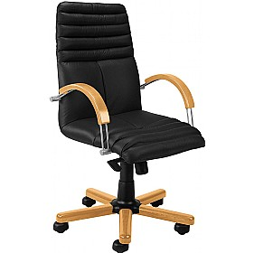 Galaxy Wood Executive Leather Chair £304 - Office Chairs