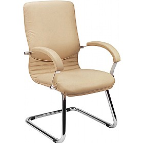 Nova Executive Leather Faced Visitor Chair £198 - Office Chairs