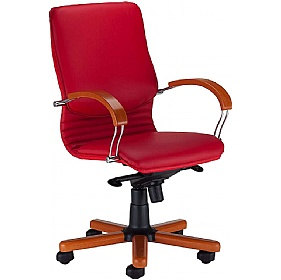 Nova Wood Executive Leather Faced Chair £246 - Office Chairs