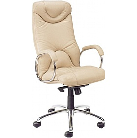 Elf Cream Leather Faced Manager Chairs £256 - Office Chairs