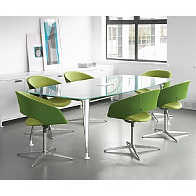 DNA Boat Shaped Glass Meeting Table £1856 - Meeting Room Furniture