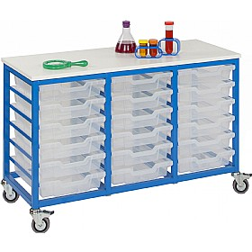Mobile Triple Column 18 Tray Trolley £0 - Education Furniture