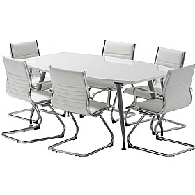White Lumina High Gloss Boardroom Bundle Deal £1587 - Meeting Room Furniture