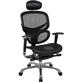Desire 24Hr Ergonomic Full Mesh Chair With Leather Headrest £288 - Office Chairs