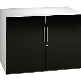 Reflections Black Desk High Cupboards £235 - Office Storage