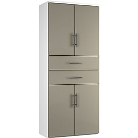Reflections Stone Grey Twin Double Door Combination Cupboard With Drawers £588 - Office Storage