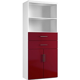 Reflections Burgundy Double Door Combination Cupboard With Drawers And Shelves £450 - Office Storage