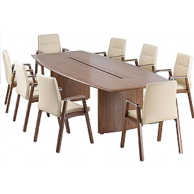 Natural Walnut Veneer Barrel Boardroom Table With Cable Management £3684 - Meeting Room Furniture