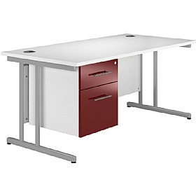 NEXT DAY Pure Cantilever Rectangular Desks With Single Fixed Pedestal £251 - Next Day Office Furniture
