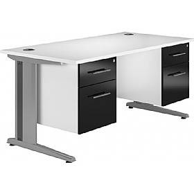 NEXT DAY Distinct Cantilever Rectangular Desks With Double Fixed Pedestals £387 - Next Day Office Furniture