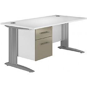 NEXT DAY Kudos Cantilever Rectangular Desks With Single Fixed Pedestal £288 - Next Day Office Furniture