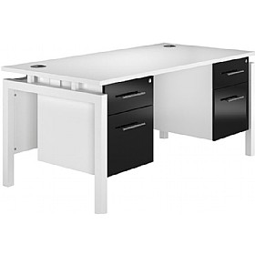 NEXT DAY Impact Rectangular Double Bench Desks With Fixed Pedestal £447 - Next Day Office Furniture