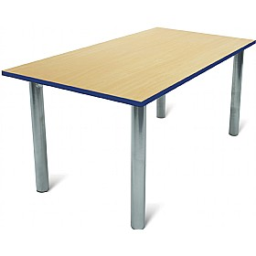 Scholar Heavy Duty Rectangular Cylinder Legged Tables With Silver Frame £57 - Education Furniture