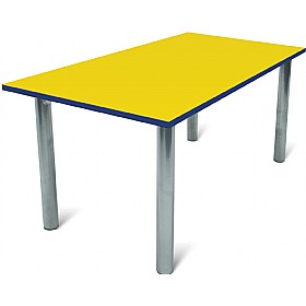 Scholar Super Heavy Duty Rectangular Cylinder Legged Tables With Silver Frame £85 - Education Furniture