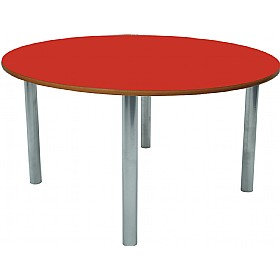 Scholar Heavy Duty Circular Cylinder Legged Tables With Silver Frame £0 - Education Furniture