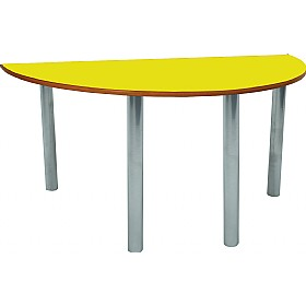 Scholar Heavy Duty Semi-Circular Cylinder Legged Tables With Silver Frame £0 - Education Furniture