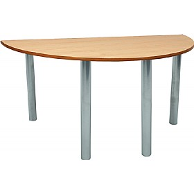 Scholar Super Heavy Duty Semi-Circular Cylinder Legged Tables With Silver Frame £0 - Education Furniture