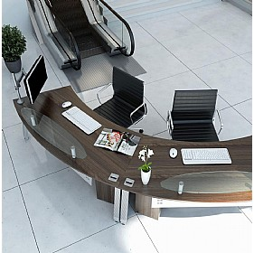 Elite Linnea Executive Radius Reception Desks £604 - Reception Furniture