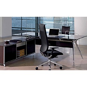 Sapphire Executive Glass Desk With Credenza