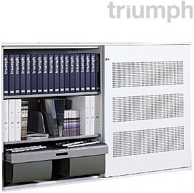 Triumph SuperGlider Dual Access Perforated Sliding Door Cupboards £1227 - Office Desks