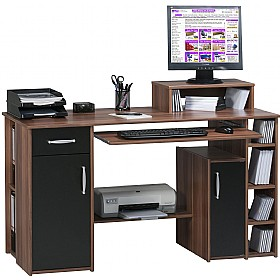 Alaska Computer Desk Walnut/Black £163 - Computer Desks