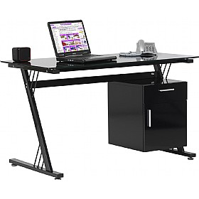 Kaper Black Glass Computer Desk £226 - Computer Desks