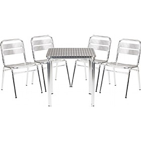 Rio 4 Leg Square Bistro Table & Chairs Bundle Deal £180 - Bistro Furniture