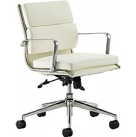 Sicily Medium Back Enviro Leather Faced Chair Ivory £236 - Office Chairs