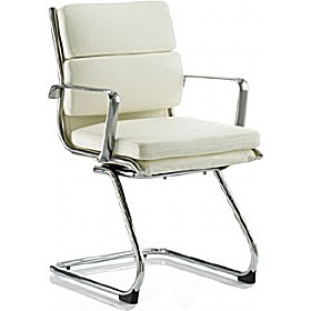 Sicily Cantilever Enviro Leather Faced Chair Ivory £197 - Office Chairs