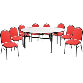 5ft Round Soft Top Table & 8 Grosvenor Chairs £402 - Bistro Furniture