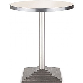 Florida Round Aluminium Edged Melamine Bistro Table - Square Base £170 - Bistro Furniture