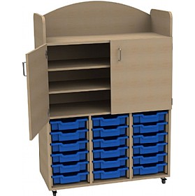 Stretton 18 Shallow Tray Triple Bay Storage Unit & Cupboard £384 - Education Furniture