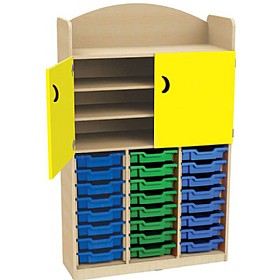 Stretton 24 Tray Triple Bay Storage Unit With Cupboard £0 - Education Furniture