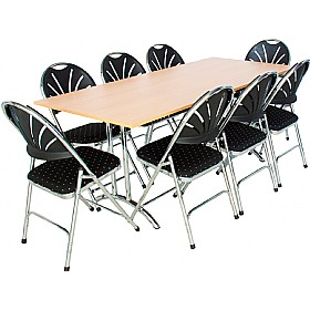 Rectangular Folding Table with 8x Fan Back Upholstered Folding Chairs £657 - Bistro Furniture