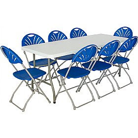6ft Folding Rectangular Table with 8x Fan Back Folding Chairs £183 - Bistro Furniture