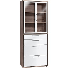 Venture Tall Combination Glass Door Cupboard With Drawers £363 - Home Office Furniture