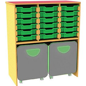 Funky 18 Tray Storage Unit With Docking Space £0 - Education Furniture