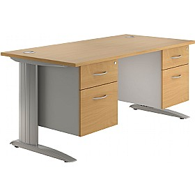 NEXT DAY Force Double Fixed Pedestal Desks £398 - Next Day Office Furniture