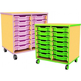 Edge Double Bay Mobile Shallow Tray Units £168 - Education Furniture