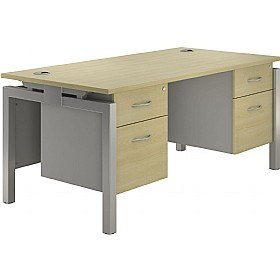 NEXT DAY Spark Rectangular Double Bench Desks With Fixed Pedestal £428 - Next Day Office Furniture