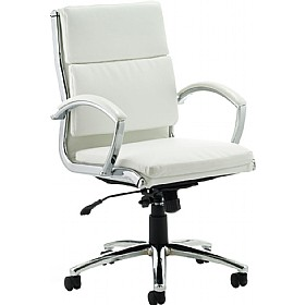 Formosa Medium Back Enviro Leather Chair White £189 - Office Chairs