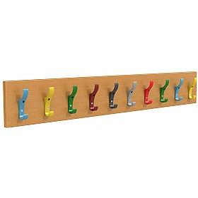 Multi Coloured Classroom Coat Hook Rails Cloakroom