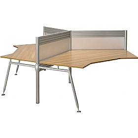 Acclaim 120° Workstation 3 Way Cluster Desks Add On With Screens £1647 - Office Desks